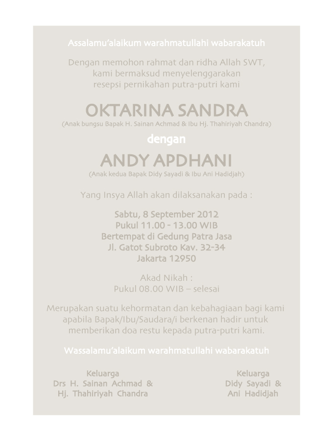 Pernikahan Andy & Okta - 18 September 2012 @ Patra Jasa